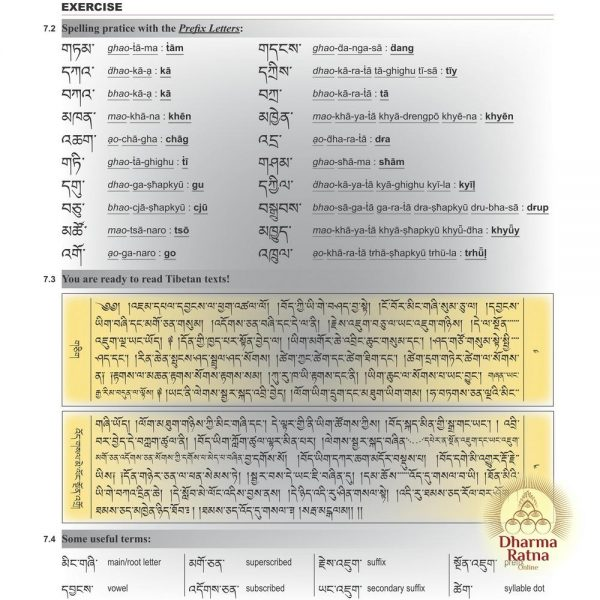 Tibetan for Beginners by Mingyur Dorje, sample page