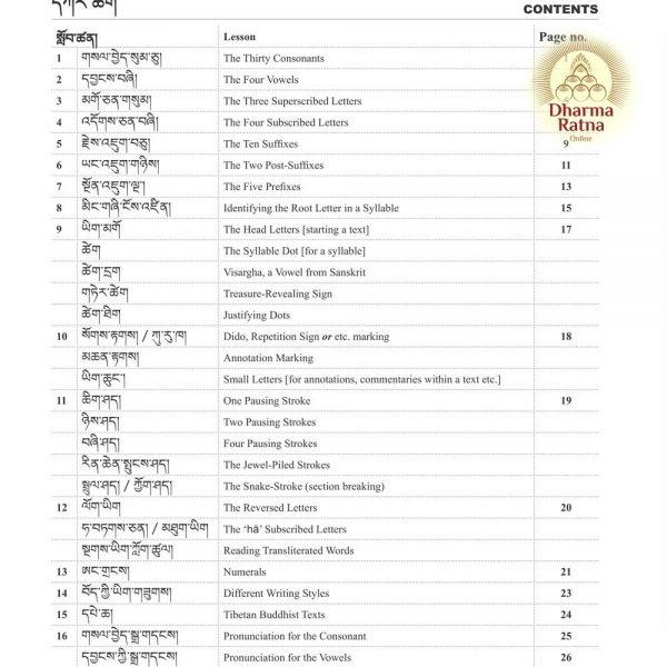 Tibetan for Beginners by Mingyur Dorje, contents